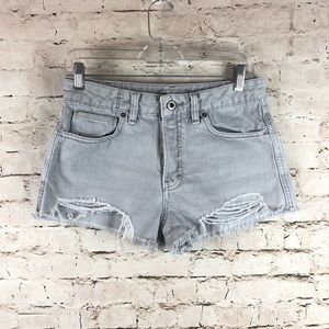 FREE PEOPLE Gray Denim Cut Off Shorts